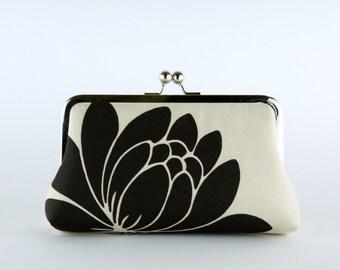 Bridesmaid Gift, Black Lotus Clutch, Silk Lining, Bridesmaid Clutch, Wedding clutch