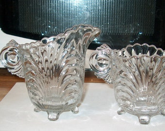 Antique Vintage Elegant Glass Cambridge Caprice Cream & Sugar Bowl, WAS 15.00 - 20% = 12.00