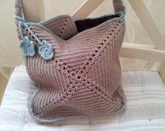 Crochet hand bag with an inner bag for smartphone or sunglasses