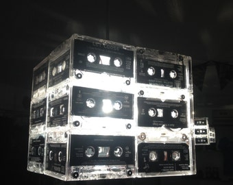 Upcycled Cassette tape cube lamp shade by AsBeAu rEtRo!