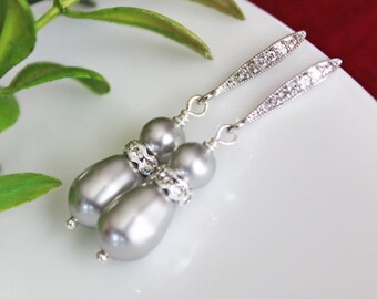 Swarovski Crystal Light Gray Pearl Wedding Earrings, Pearl Drop Bridal Earrings, Bridesmaid Earrings, Wedding Jewelry Gift