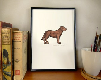 Chocolate Labrador - Dog Print of original Watercolour Painting  A4/ 8.3 x 11.7, Contemporary Pet Portrait, Wall Art