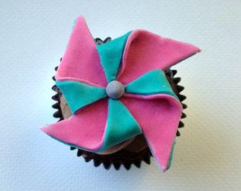 Fondant Pinwheel Cupcake Topper