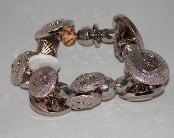 Glitzy Silver Stretch Button Bracelet