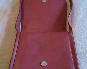 Gabbiani Dark Coral Red Genuine Leather Shoulder Bag