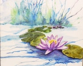 Water lily painting on watercolor canvas 12x12 inches, purple waterlilies, lilypad watercolor artwork,