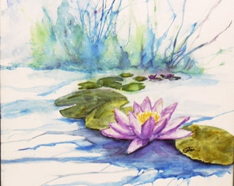 Water lily painting on watercolor canvas 12x12 inches - purple waterlilies - original painting - flower art - flower painting -