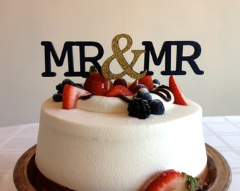 Mr & Mr - Modern Wedding Cake Topper With Ampersand Accent