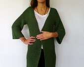 "The ""being green is not a color: it's an attitude"" hand knit jacket wants to transmit its positive sense of life. Think green! Think of it! - KEENbyAM"