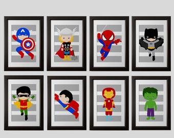 Superhero Wall PRINTS Shipped: Set 8, Spiderman, Ironman, Superman, Batman,