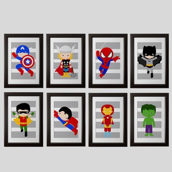 Superhero wall PRINTS shipped: set 8 spiderman ironman
