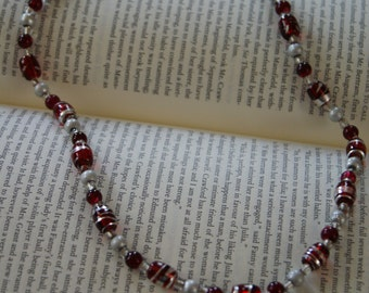Red and Grey Beaded Necklace