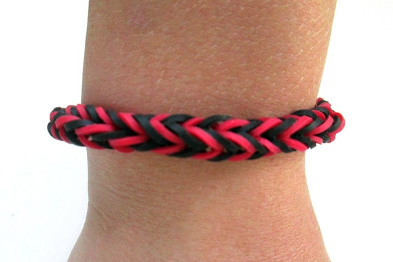 Items Similar To Rainbow Loom Bracelet Black And Red