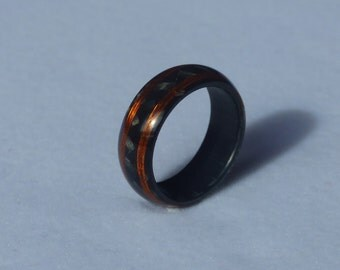 copper  & carbon ring wedding band