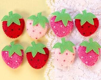 8 Pcs Polka Dot Fuzzy Strawberry Appliques - 15x10mm