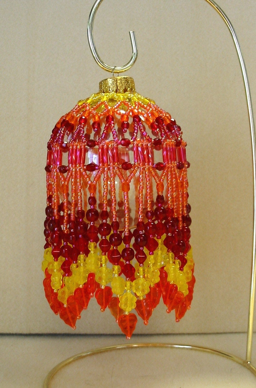 beaded fancy fringed ornament cover beading instructions