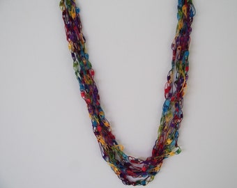 Jewel Tones Ladder Trellis Yarn Necklace