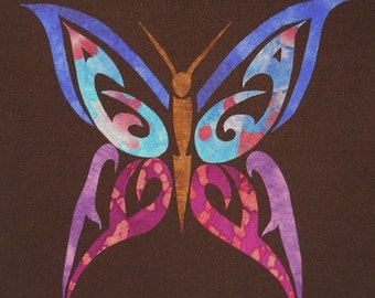Easy Tribal Butterfly Quilt Applique Pattern Design