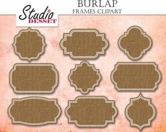 Frames Cliparts, Burlap Clipart, Textile Labels, Frames Tags , Digital Frames, Clip Art Pack for Wedding Invites, Scrapbooking Supplies