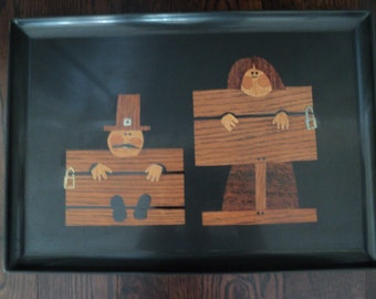 Vintage Couroc Pilgrims in the Stocks Large Tray