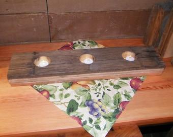 Reclaimed wood table top (3) ) tea light holder