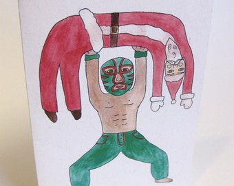 Lucha Libre Bah Humbug/Feliz Navidad Chrismas Holiday Card - Handmade and printed from original ink and gouache illustration