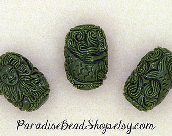 Carved Resin Beads, Green Carved Resin Mermaid Bead