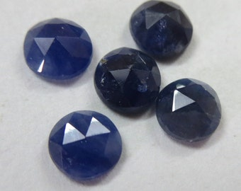 rose cut 6 mm round 5 pcs lots NATURAL genuine blue SAPPHIRE AA quality top rose cut  gemstone.....