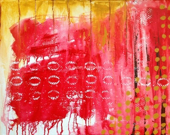 Abacus Fine Art Print, Abstract Art, Red Modern Art, Red Home Decor, Red Painting, Dorm Art, Mathematics
