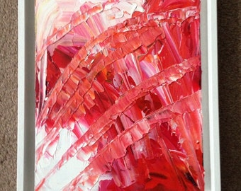 Original abstract painting, acrylic, rose red by artist Tracey Ward