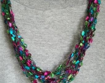 Bright multi color crochet necklace.