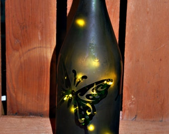 Lighted Butterfly Etched Wine Bottle