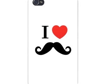 Apple iPhone Custom Case White Plastic Snap on - I Heart (Love) Curly Mustache 6433