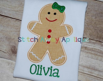 Christmas Gingerbread Girl Machine Embroidery Applique Design