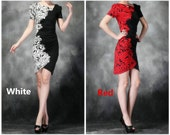 002.Classic Black One-piece Dress with White Floral Printed Creative Design Casual Woman Clothing Succinct Skirt