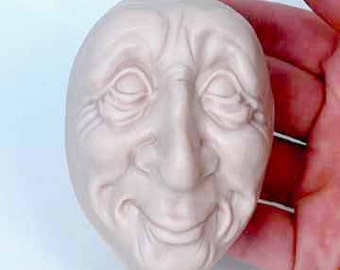 Moldf5 - 3 inch Whimsical Face, by Maureen Carlson. Create Elves, Santas, Gnomes, Trolls and more