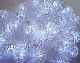 String LED lights, Fairy Lights, Party Lighting, Wedding Lights, Bedroom Decor lamps, 40 Lace Crocheted ball , LED string lights