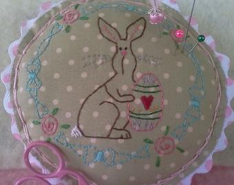 Easter Bunny Pincushion - Handmade Pincushion - Country Pincushion - Primitive Pincushion