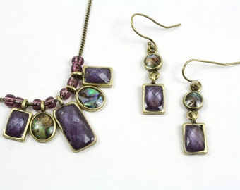 Abalone and Purple Bead Adjustable Necklace and Earring Set