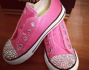 Low Top Bling Converse Velcro Simple Slip On Shoes
