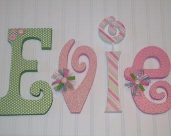 Hanging nursery letters, nursery letters, baby girl nursery letters, green, pink, white nursery decor, nursery wall letters