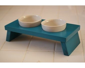 Lagoon blue teal small dog or cat food and water dish ceramic bowl