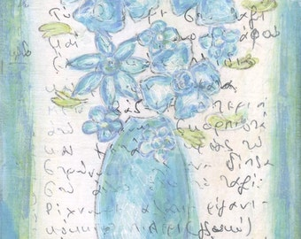 Blue Flowers  - Original Mixed Media Painting with Greek writing