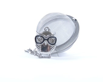 Loose Tea Infuser Mesh Ball Tea Strainer Owl with Eye Glasses