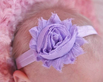 Light purple shabby flower headband, baby headband, newborn headband, toddler headband