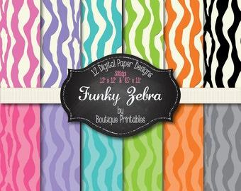 Funky Zebra digital papers - 12x12 and 8.5x11 300 dpi