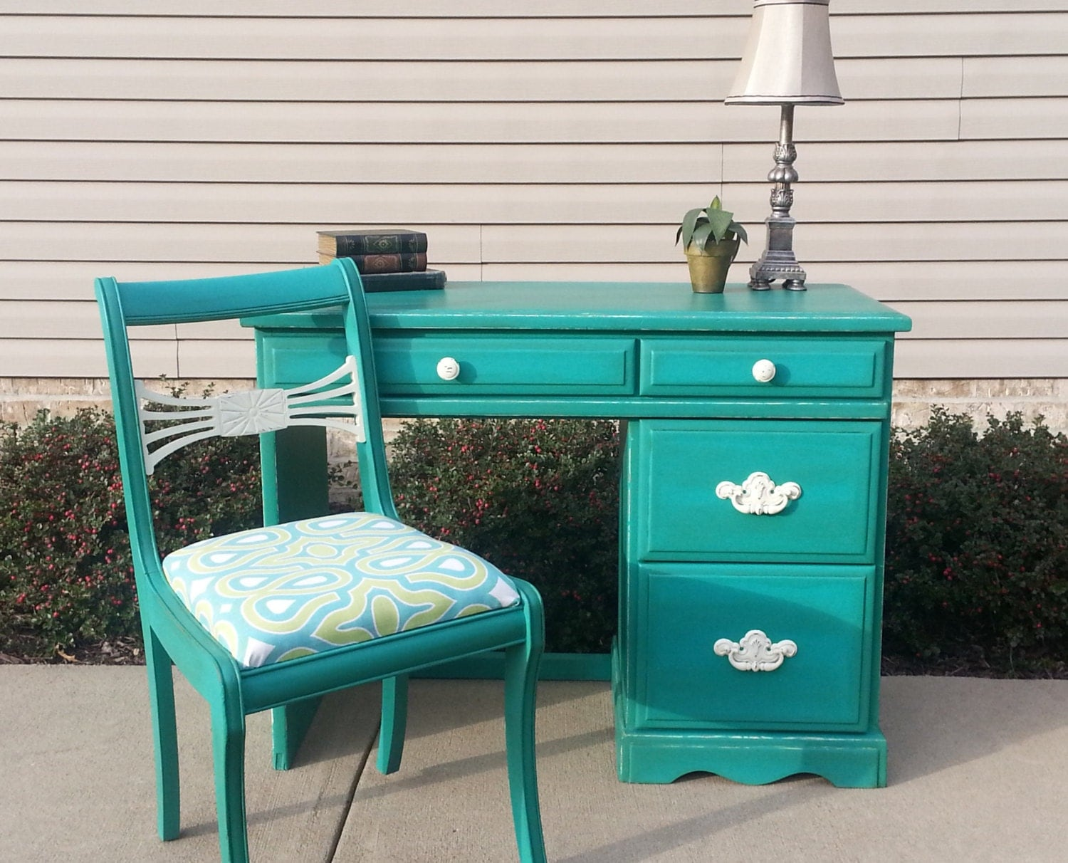 Shabby Chic Teal Desk Amp Antique Chair In Annie Sloan Chalk