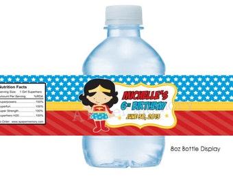 Superhero water bottle labels | Etsy