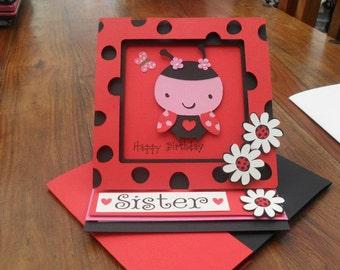Ladybird card, Ladybug Birthday Card, ladybug card, ladybug party, bug card, bugs birthday,
