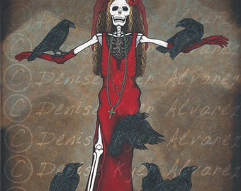 "8x10 Day of the Dead Giclee print, ""Belleza del Cuervo"""